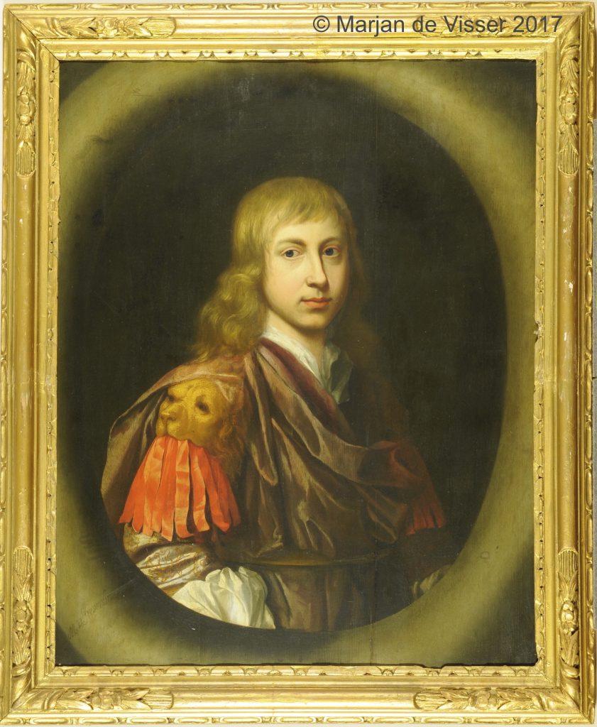 voor restauratie een portret van Edzard Jacob Tjarda van Starkenborgh heer van Verhildersum te Leens