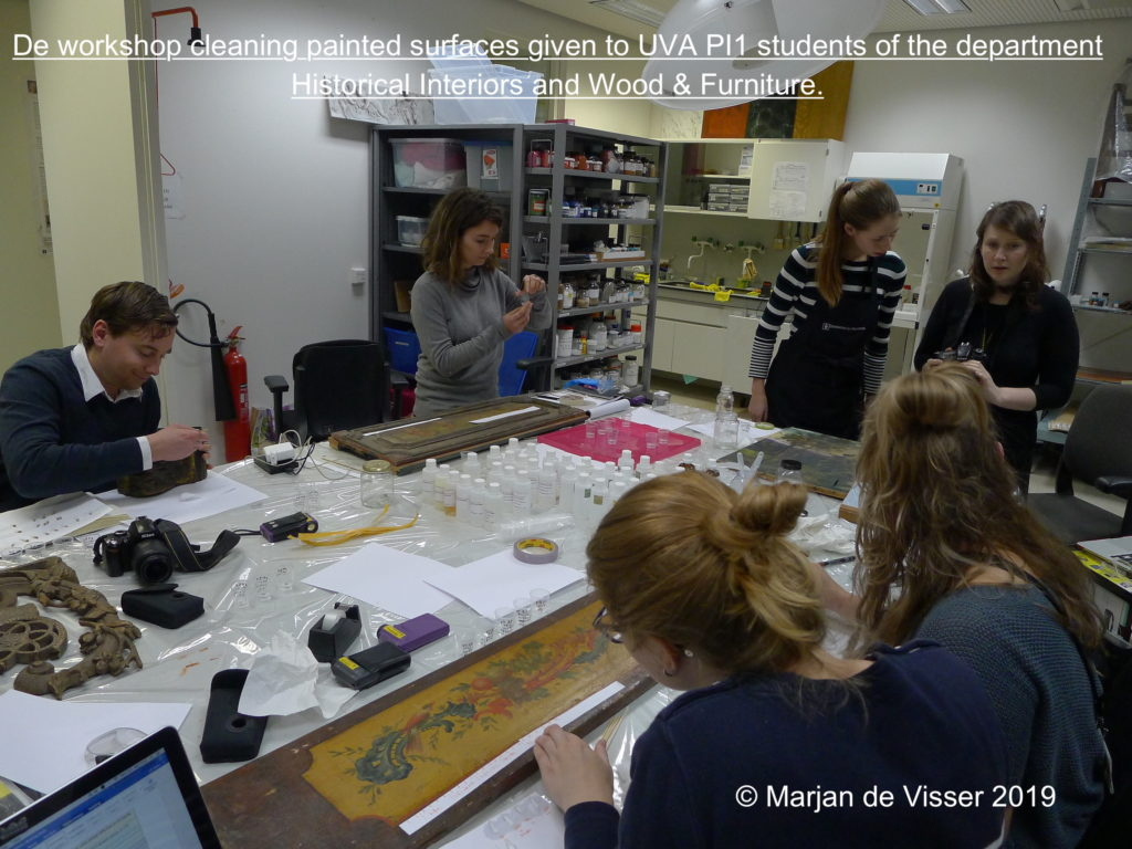 De workshop cleaning painted surfaces UVA  Historical Interiors and Wood & Furniture.